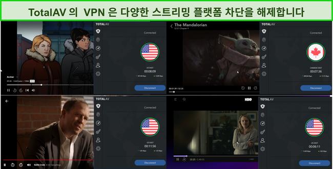 Hulu, Disney +, Netflix 및 HBO Max를 차단 해제하는 Total AV VPN의 스크린 샷.