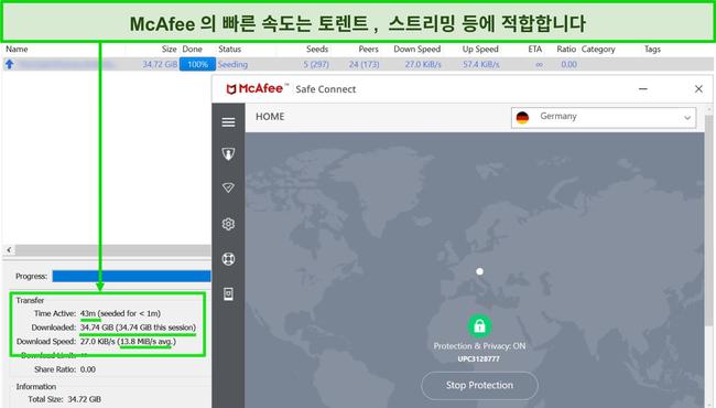 35GB 토렌트 파일을 다운로드하는 동안 독일 서버에 연결된 McAfee VPN의 스크린 샷.
