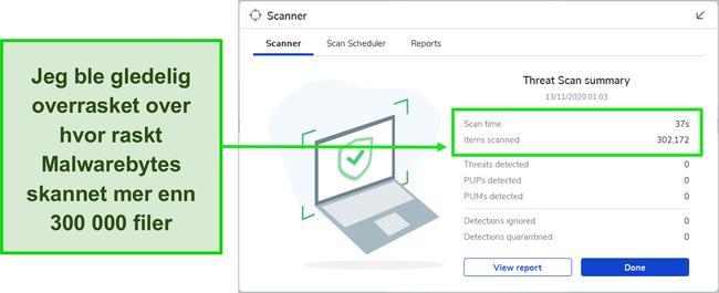 Skjermbilde av Malwarebytes Threat Scan-resultater.