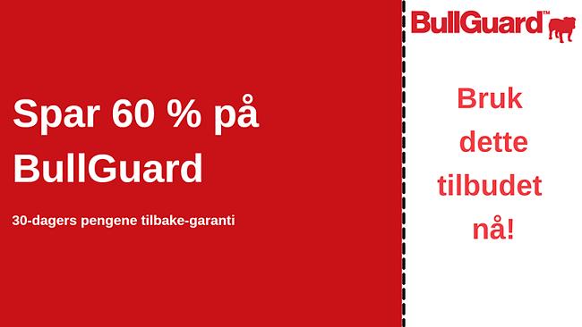 BullGuard antivirus-kupong med 60% rabatt og 30-dagers pengene-tilbake-garanti