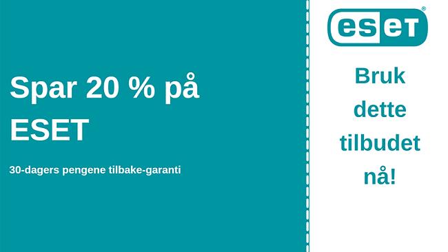 ESET antivirus-kupong med 20% rabatt og 30-dagers pengene-tilbake-garanti