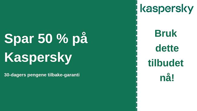Kaspersky antivirus-kupong med 50% rabatt og 30-dagers pengene-tilbake-garanti