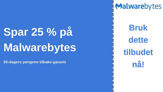 Malwarebytes antivirus-kupong med 25% rabatt og 30-dagers pengene-tilbake-garanti