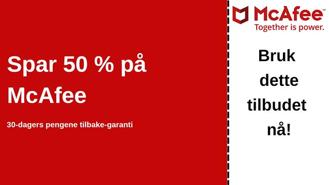 McAfee antivirus-kupong for opptil 50% avslag med 30-dagers pengene-tilbake-garanti