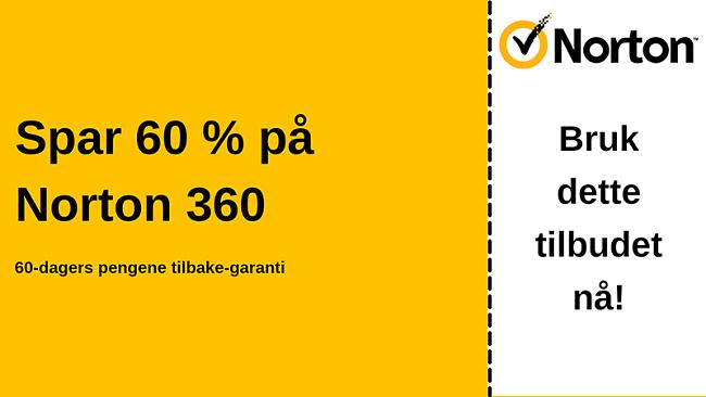 Norton 360 antivirus-kupong for 60% avslag med en 60-dagers pengene-tilbake-garanti