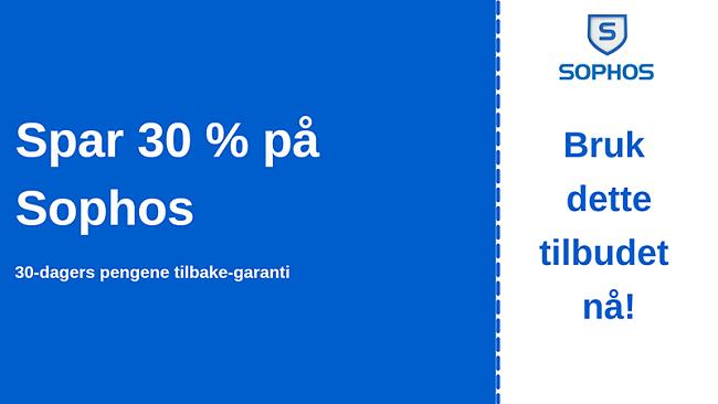 Sophos antivirus-kupong med 30% rabatt og 30-dagers pengene-tilbake-garanti