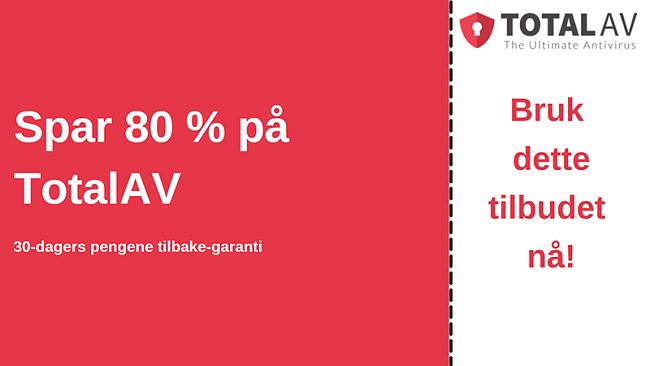 TotalAV antivirus-kupong med opptil 80% rabatt og 30-dagers pengene-tilbake-garanti