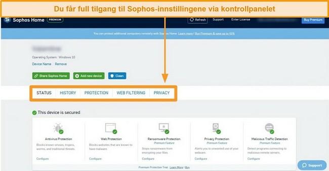 Skjermbilde av Sophos 'nettbaserte Dashboard
