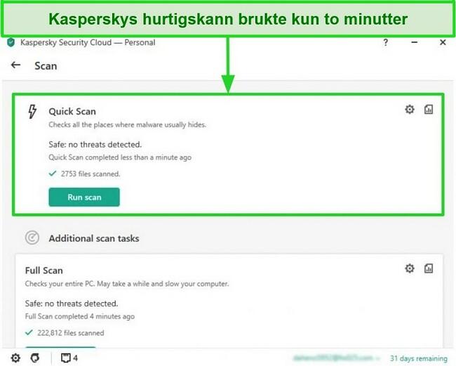Skjermbilde av Kaspersky Antivirus desktop-appens hurtigskanneresultatskjerm.