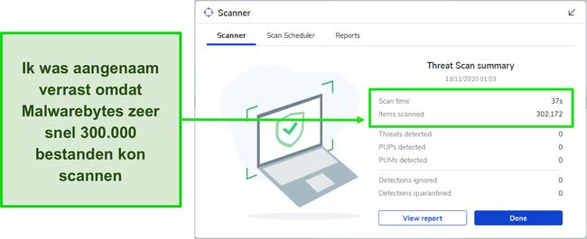 Screenshot van de Malwarebytes Threat Scan-resultaten.