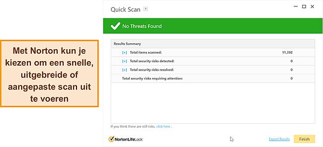 Nortons scanopties tegen malware.