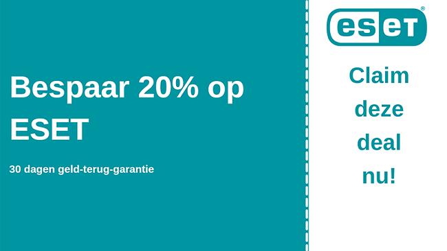 ESET-antiviruscoupon met 20% korting en 30 dagen geld-terug-garantie