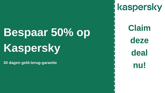 Kaspersky antivirus coupon met 50% korting en 30 dagen geld-terug-garantie