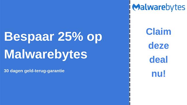 Malwarebytes antivirus kortingsbon met 25% korting en 30 dagen geld-terug-garantie