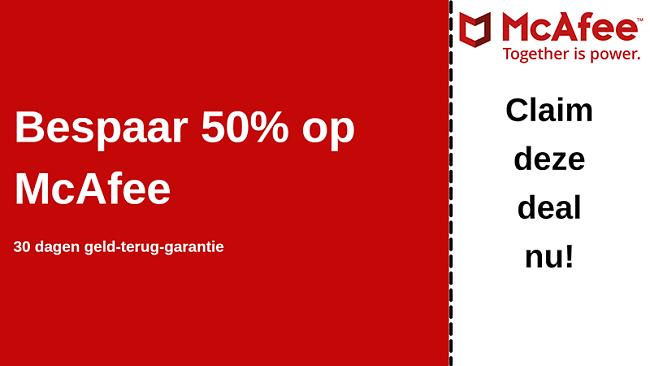 McAfee-antiviruscoupon tot 50% korting met een 30 dagen geld-terug-garantie