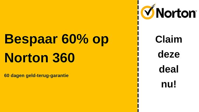 Norton 360 antivirus coupon voor 60% korting met een 60 dagen geld-terug-garantie