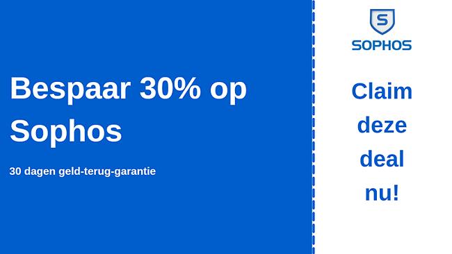 Sophos antivirus kortingsbon met 30% korting en 30 dagen geld-terug-garantie