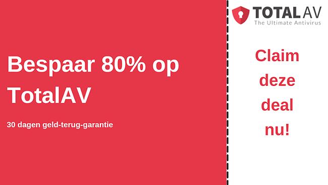 TotalAV antivirus kortingsbon met tot 80% korting en 30 dagen geld-terug-garantie