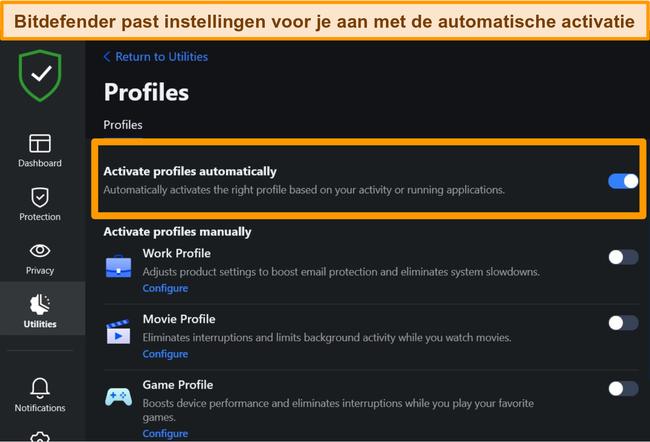 Schermafbeelding van de profielinstelling van Bitdefender met automatische activering gemarkeerd.