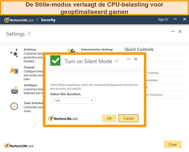 Schermafbeelding van de stille modus van Norton die wordt ingeschakeld.