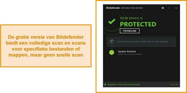 Schermafbeelding van het gratis antivirusdashboard van Bitdefender.