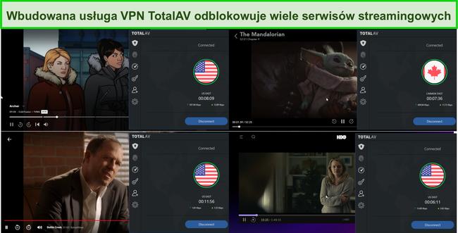 Zrzut ekranu przedstawiający Total AV VPN odblokowujący Hulu, Disney +, Netflix i HBO Max.