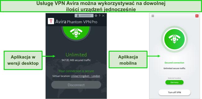 Zrzut ekranu aplikacji komputerowych i mobilnych Avira Phantom VPN.