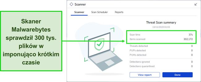 Zrzut ekranu z wynikami skanowania zagrożeń Malwarebytes.