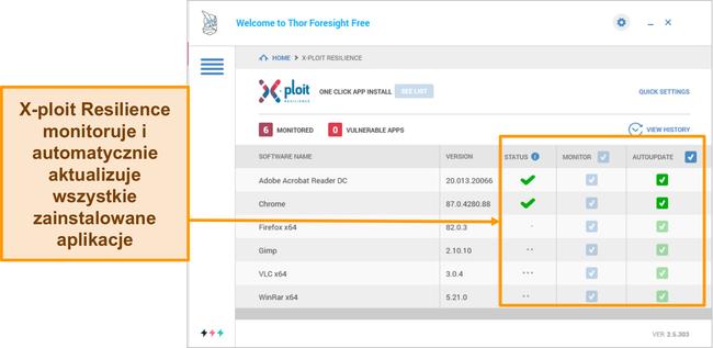 Zrzut ekranu przedstawiający funkcję Xploit Resilience firmy Heimdal.