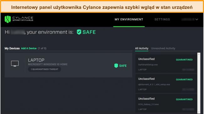 Zrzut ekranu internetowego pulpitu nawigacyjnego Cylance wyświetlającego aktualny poziom bezpieczeństwa podłączonych urządzeń oraz wykryte zagrożenia.