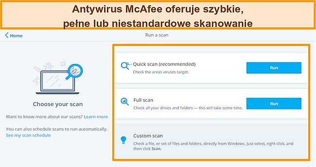 Zrzut ekranu aplikacji antywirusowej McAfee z szybkimi, pełnymi i niestandardowymi opcjami skanowania.