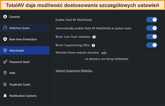 Zrzut ekranu z Manus ustawień TotalAvs.