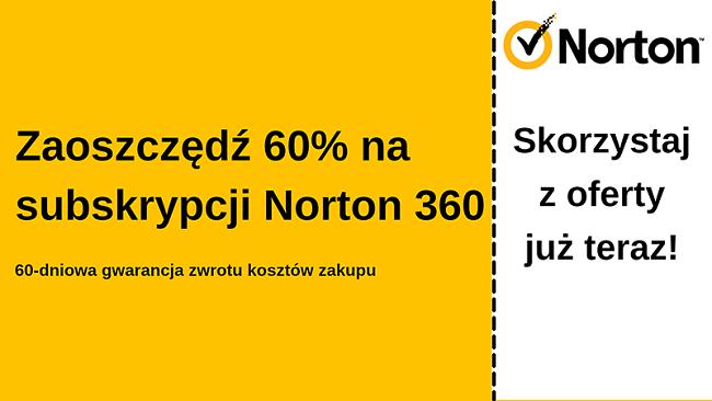 Kupon na oprogramowanie antywirusowe Norton 360 ze zniżką 60% z 60-dniową gwarancją zwrotu pieniędzy