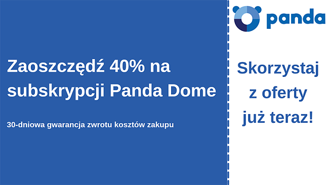 Kupon na oprogramowanie antywirusowe Panda z 40% zniżką i 30-dniową gwarancją zwrotu pieniędzy