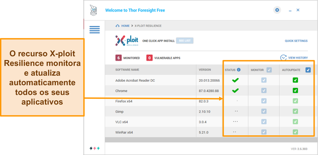 Captura de tela do recurso Xploit Resilience do Heimdal.