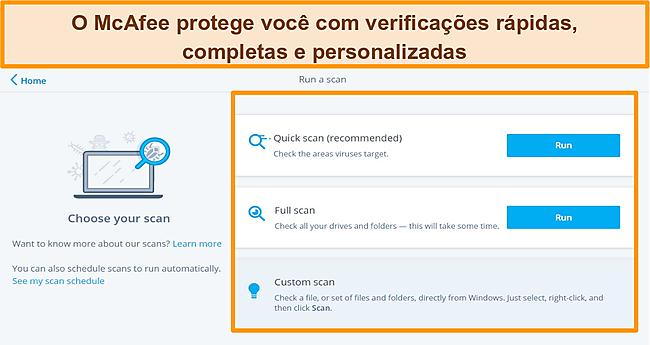 Captura de tela do aplicativo antivírus McAfee com opções de verificação rápida, completa e personalizada.