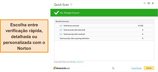Opções de varredura anti-malware do Norton.