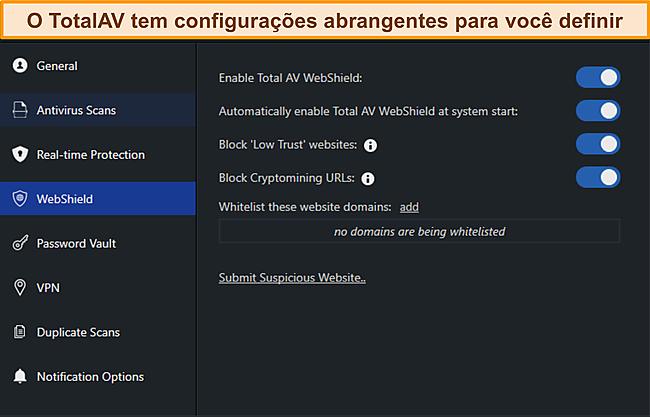 Captura de tela do manual de configurações do TotalAvs.