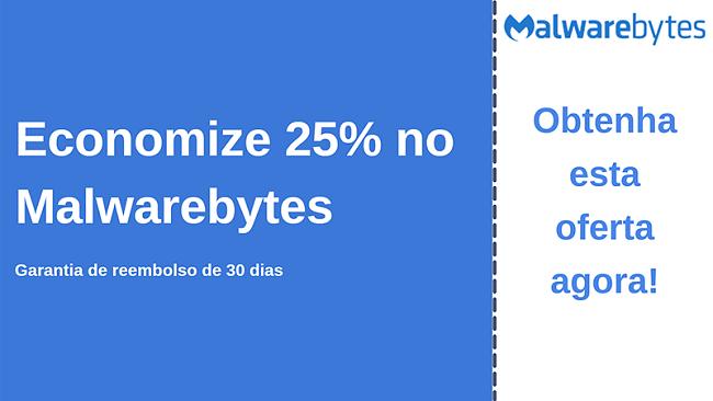 Cupom do antivírus Malwarebytes com 25% de desconto e 30 dias de garantia de devolução do dinheiro