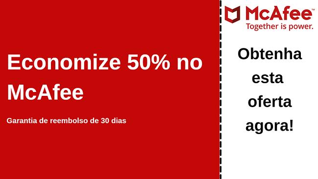 Cupom de antivírus da McAfee de até 50% de desconto com garantia de devolução do dinheiro em 30 dias