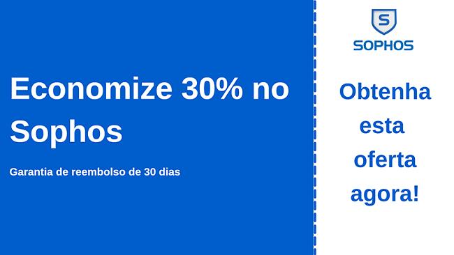 Cupom antivírus Sophos com 30% de desconto e garantia de devolução do dinheiro em 30 dias