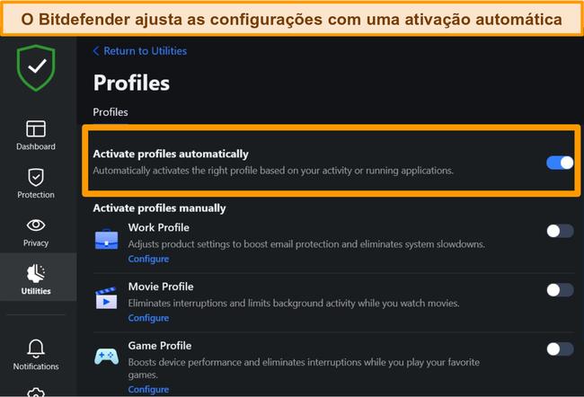 Captura de tela da configuração de Perfis do Bitdefender com ativação automática destacada.