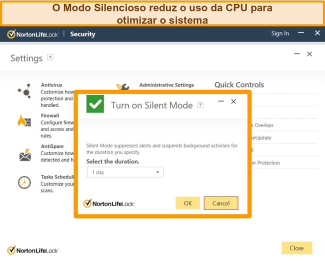 Captura de tela do Modo silencioso do Norton sendo ativado.