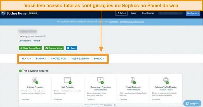 Captura de tela do painel baseado na web da Sophos