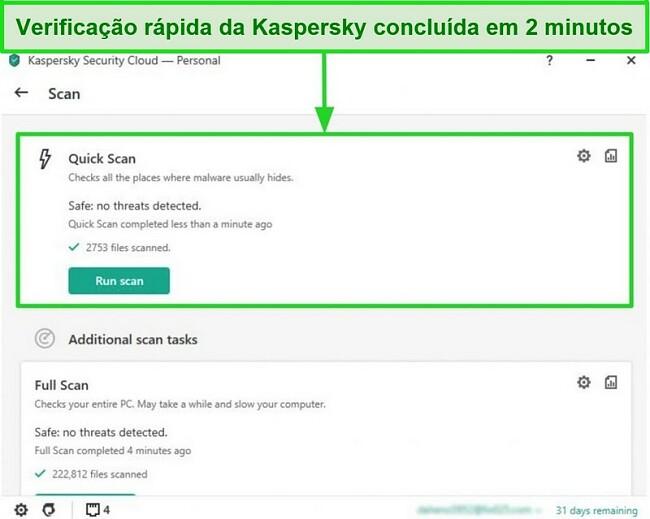 Captura de tela da tela de resultado da verificação rápida do aplicativo Kaspersky Antivirus para desktop.