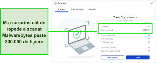 Captură de ecran a rezultatelor Malwarebytes Threat Scan.