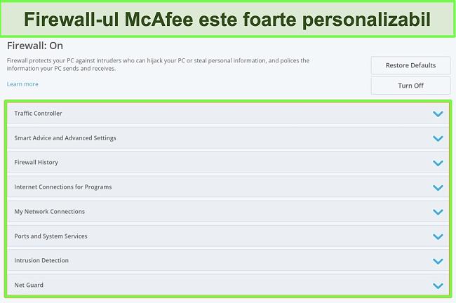 Captură de ecran a firewall-ului McAfee.
