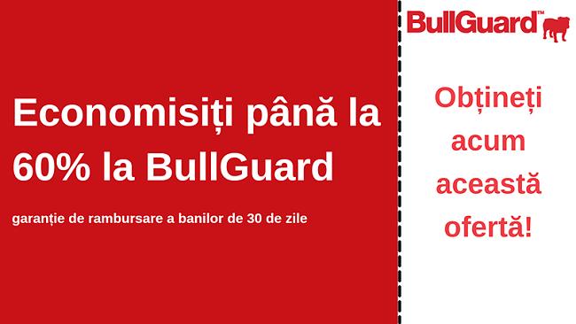 Cupon antivirus BullGuard cu reducere de 60% și garanție de 30 de zile de returnare a banilor