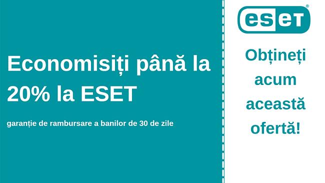 Cupon antivirus ESET cu reducere de 20% și garanție de 30 de zile de returnare a banilor
