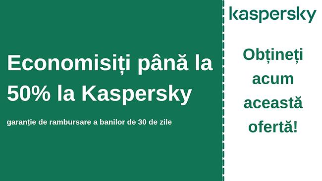 Cupon antivirus Kaspersky cu reducere de 50% și garanție de 30 de zile de returnare a banilor